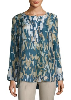 Lafayette 148 New York Katerine Printed Silk Blouse