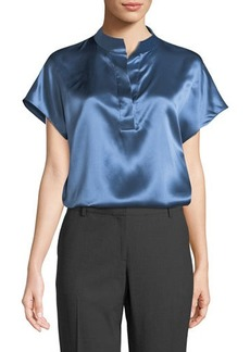 Lafayette 148 New York Keira Mandarin-Collar Silk Top