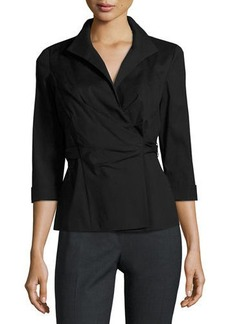 Lafayette 148 New York Keisha 3/4-Sleeve Wrap Blouse
