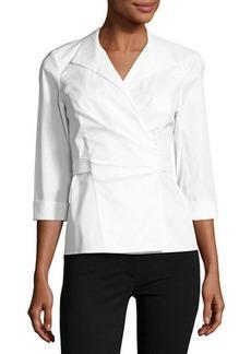 Lafayette 148 New York Keisha 3/4-Sleeve Wrap Blouse