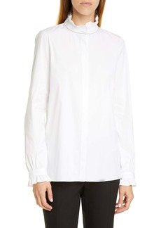 Lafayette 148 New York Kelly Ruffle Trim Blouse