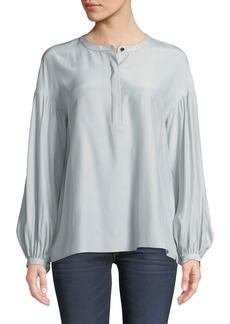Lafayette 148 New York Kenzie Long-Sleeve Matte Silk Blouse w/ Chain Detail