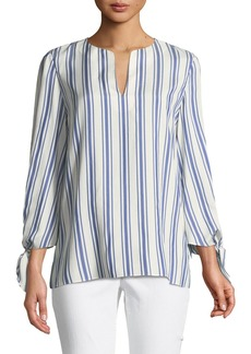 Lafayette 148 Khloe Awning Striped Tie-Cuff  Silk Blouse