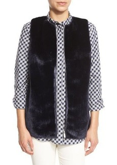 Lafayette 148 New York Kieran Zip-Front Faux-Fur Combo Vest