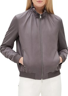 Lafayette 148 New York Kiki Zip-Front Long-Sleeve Urbane Satin Jacket w/ Ribbed Cuffs & Hem