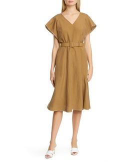 Lafayette 148 New York Kline Belted Silk & Linen Midi Dress
