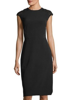 Lafayette 148 New York Lace-Back Cap-Sleeve Dress