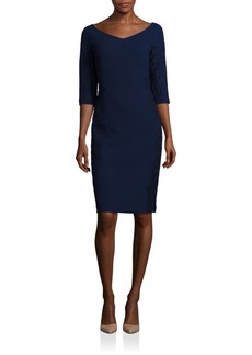 Lafayette 148 New York Lace Embroidery Nouveau Crepe Alexia Wool Dress