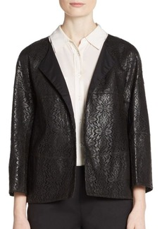 Lafayette 148 New York Lace-Pattern Laser Cut Leather Jacket