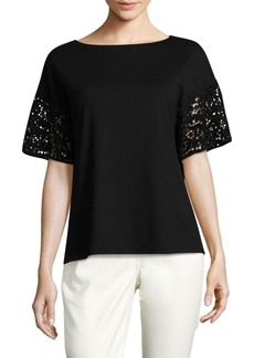 Lafayette 148 New York Lace Sleeve Top