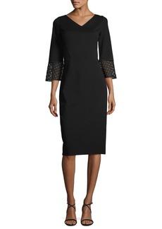 Lafayette 148 New York Lace-Trim 3/4-Sleeve Punto Milano Sheath Dress