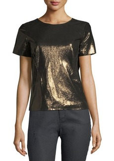 Lafayette 148 New York Lalaine Short-Sleeve Metallic-Leather Blouse