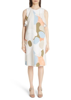 Lafayette 148 New York Landscape Expression Print Ruffle Dress