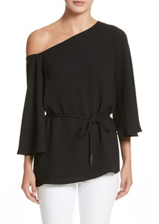 Lafayette 148 New York Lara One-Shoulder Tie Silk Top