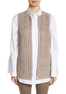 Lafayette 148 New York Laritza Braided Leather Vest