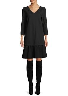 Lafayette 148 New York Larsa V-Neck Long-Sleeve Punto Milano Dress w/ Crepe Combo