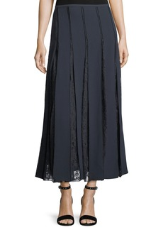 Lafayette 148 Lauralee Finesse Crepe Skirt w/ Lace Insets