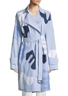 Lafayette 148 New York Laurita Sartorial Stripe Coat with Appliqués