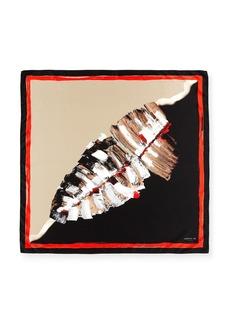 Lafayette 148 New York Leaf-Print Square Silk Scarf