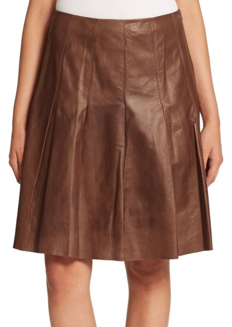Lafayette 148 New York Leather Pleated Rayden Skirt