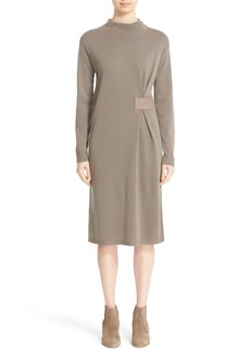 Lafayette 148 New York Leather Side Tab Wool Sweater Dress
