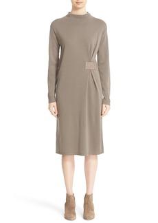 Lafayette 148 New York Leather Side Tab Wool Sweater Dress
