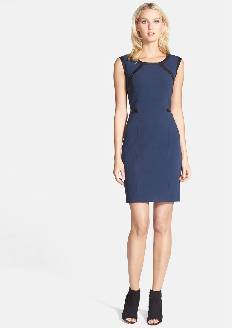 Lafayette 148 New York Leather Trim Knit Sheath Dress (Regular & Petite)