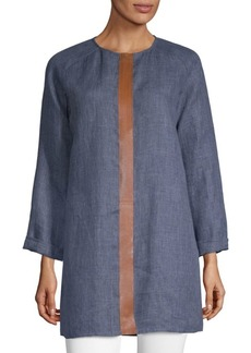 Lafayette 148 Leather Trim Tunic Top