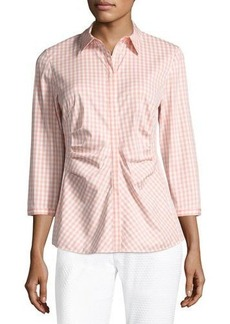 Lafayette 148 New York Leigh 3/4-Sleeve Ruched Gingham Blouse