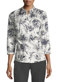 Lafayette 148 New York Leigh 3/4-Sleeve Ruched Printed Blouse