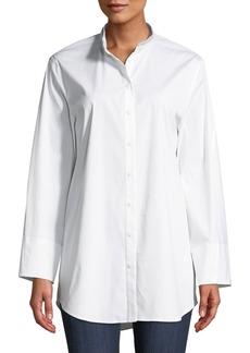 Lafayette 148 New York Lenno Italian-Stretch Cotton Blouse