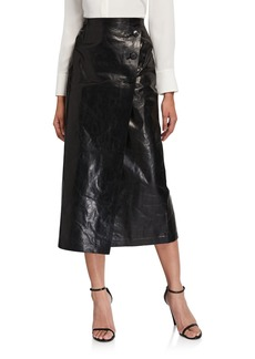 Lafayette 148 New York Leyla Glazed Weightless Lambskin Leather Midi Skirt