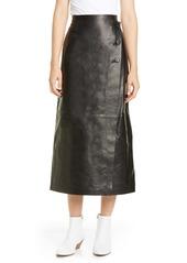 Lafayette 148 New York Leyla Lambskin Leather Midi Skirt