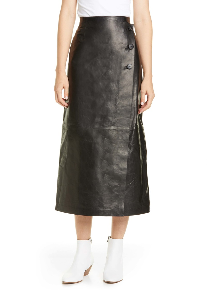 Lafayette 148 New York Leyla Lambskin Leather Midi Skirt