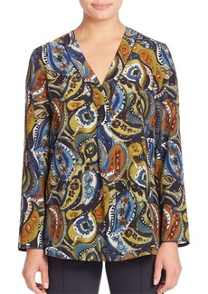 Lafayette 148 New York Libbly Silk Painterly Paisley-Print Blouse