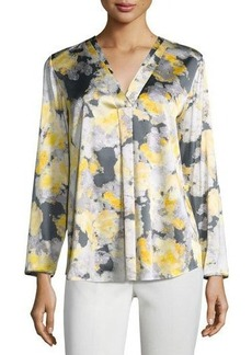 Lafayette 148 New York Libby Watercolor-Print Silk-Blend Top