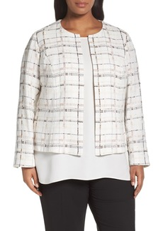 Lafayette 148 New York Linda Plaid Collarless Jacket (Plus Size)