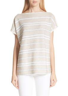 Lafayette 148 New York Linen & Silk Blend Stripe Sweater