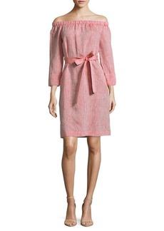Lafayette 148 New York Linen Off-The-Shoulder Dress