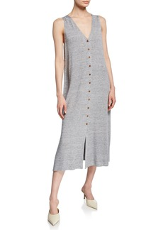 Lafayette 148 New York Linen/Viscose Button-Front Knit Dress