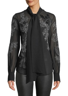 Lafayette 148 New York Lisanna Tie-Neck Floral-Embroidered Silk Georgette Blouse