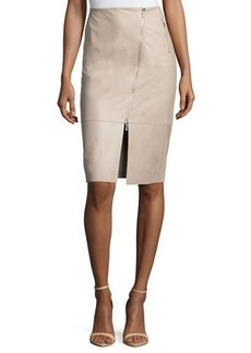 Lafayette 148 New York Lita Leather Asymmetric Double-Zip Pencil Skirt