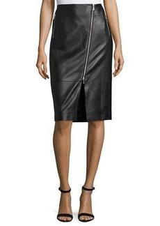 Lafayette 148 New York Lita Zip-Front Leather Skirt