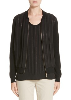 Lafayette 148 New York Logan Chain Stripe Mixed Media Bomber