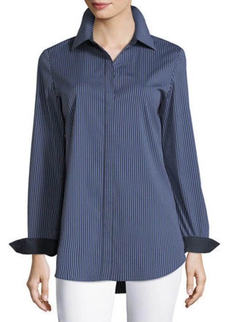 63c5ebc49a196c Lafayette 148 New York Long-Sleeve Button-Front Cherrywood Striped Shirt