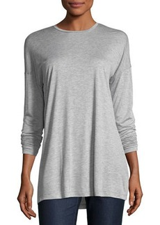 Lafayette 148 Long-Sleeve Crewneck Featherweight Jersey Top