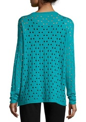Lafayette 148 New York Long-Sleeve Eyelet-Stitch Sweater