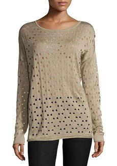 Lafayette 148 New York Long-Sleeve Eyelet Sweater