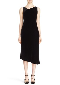 Lafayette 148 New York 'Lorde' Classic Velvet Dress with Chiffon Trim