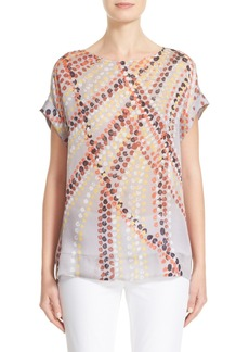 Lafayette 148 New York Lori Dot Print Silk Blouse